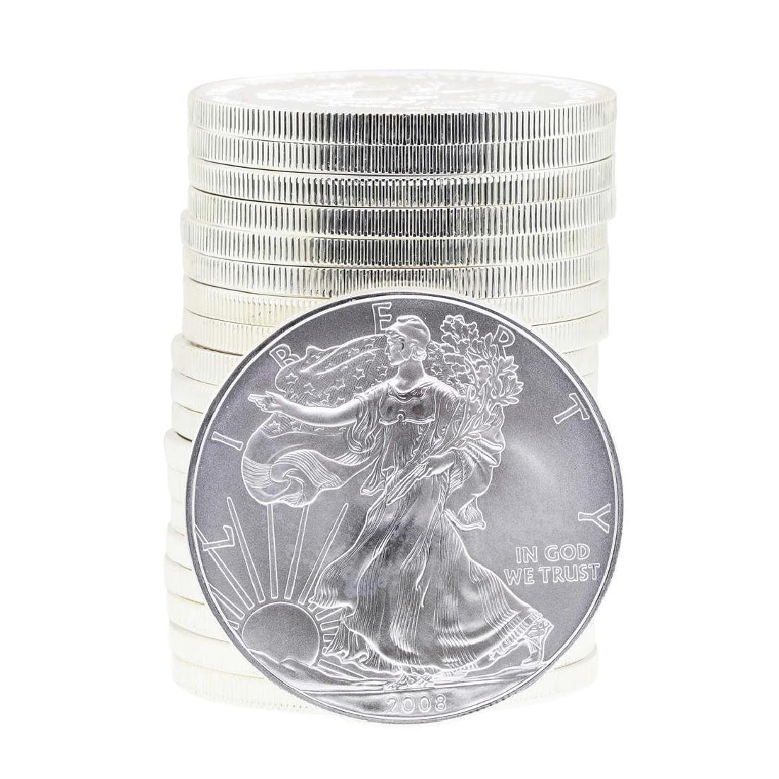 Roll of (20) 2008 $1 American Silver Eagle Brilliant