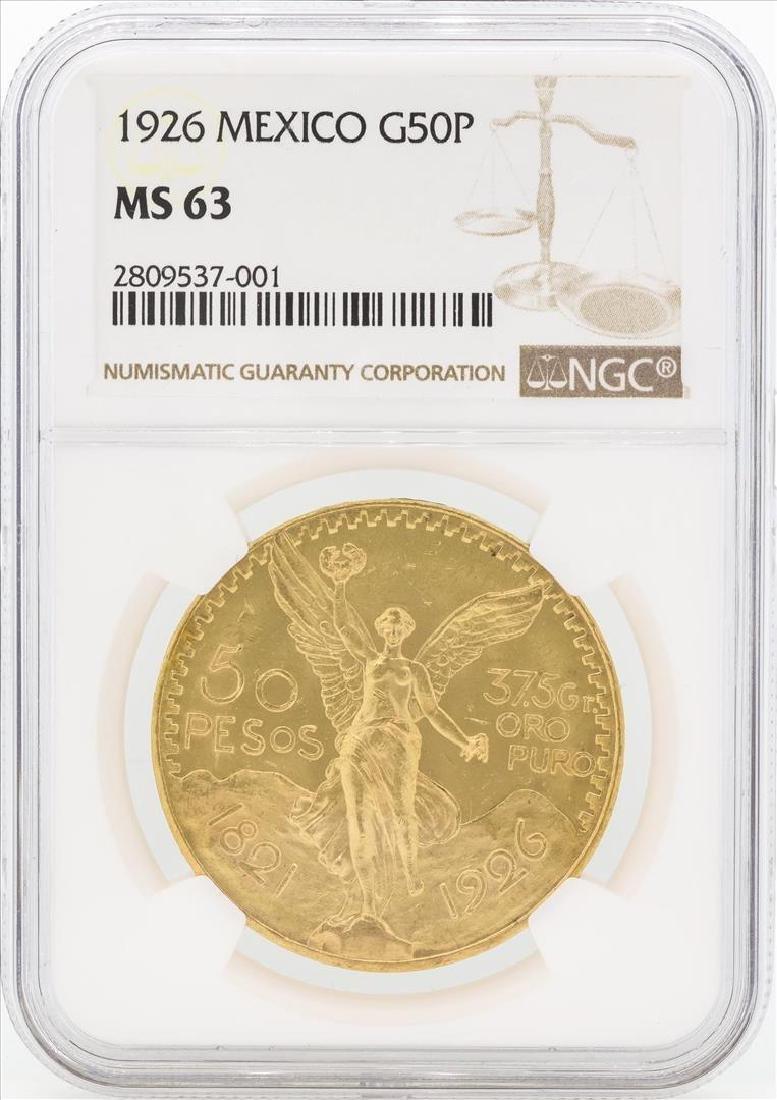 1926 Mexico 50 Pesos Gold Coin NGC MS63