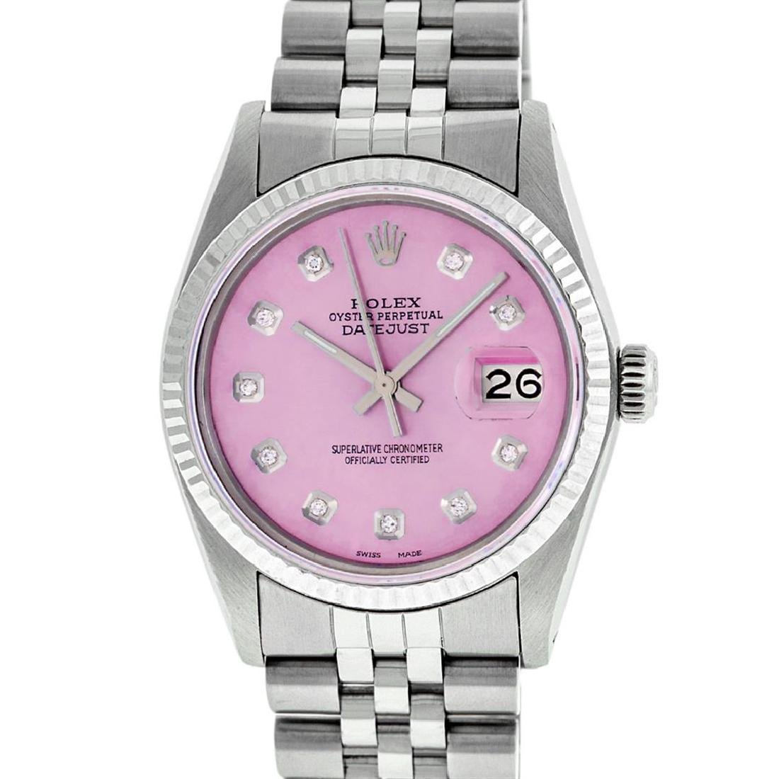 Rolex Mens 36mm Stainless Steel Ice Pink Diamond