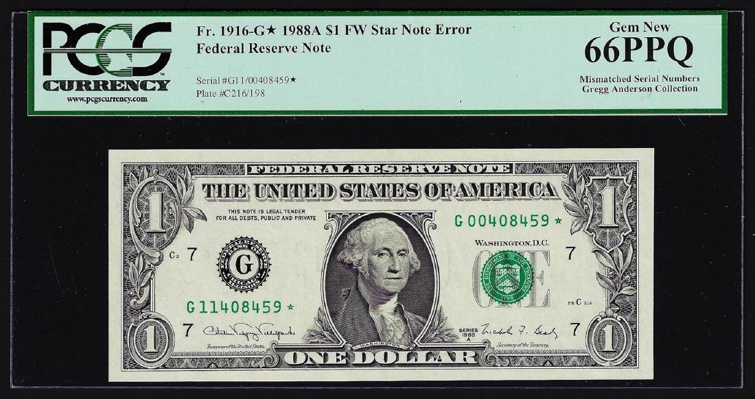 1988A $1 Federal Reserve STAR Note Mismatched Serial
