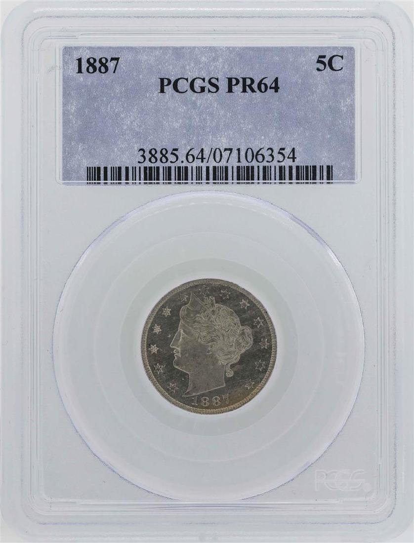 1887 Liberty V Nickel Proof Coin PCGS PR64