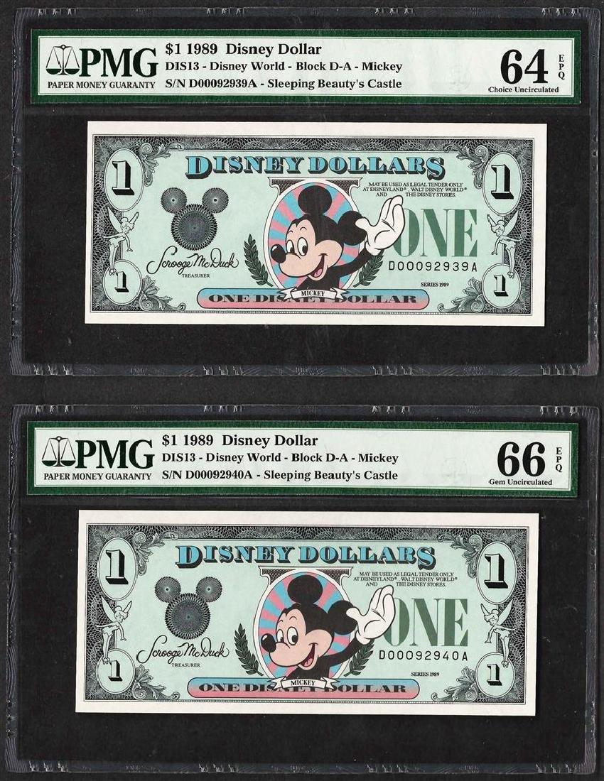 Lot of (2) Consecutive 1989 $1 Disney Dollars Notes PMG
