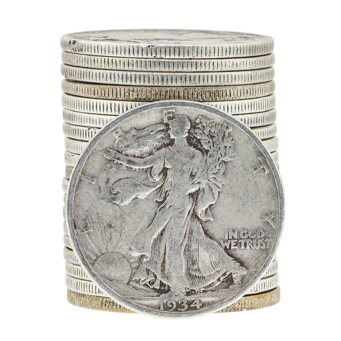 Roll of (20) Assorted Date Walking Liberty Half Dollar