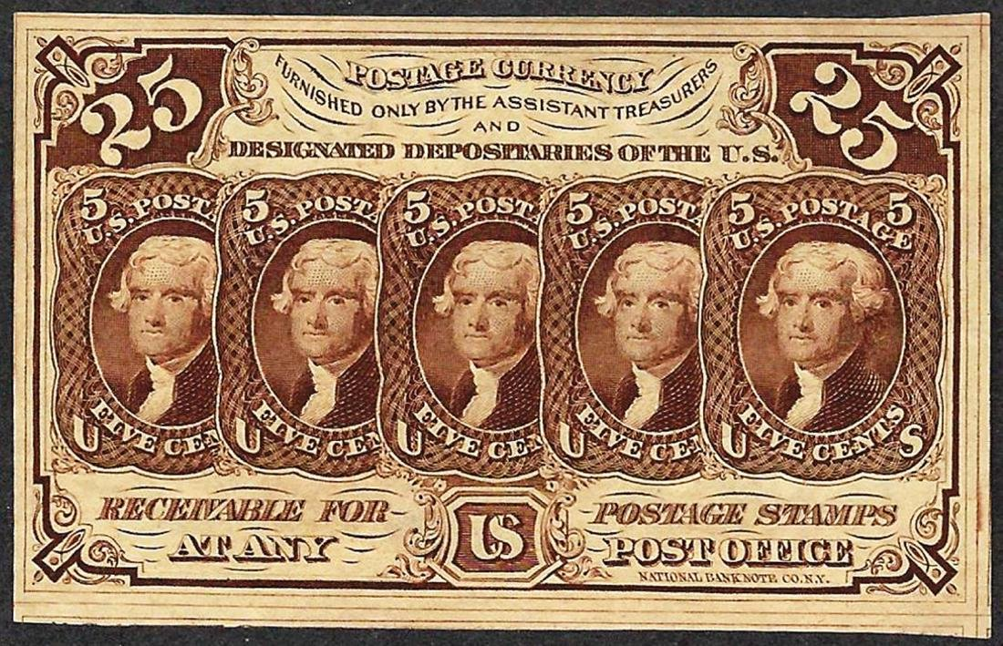 1862 Twenty Five Cent First Issue Fractional Note