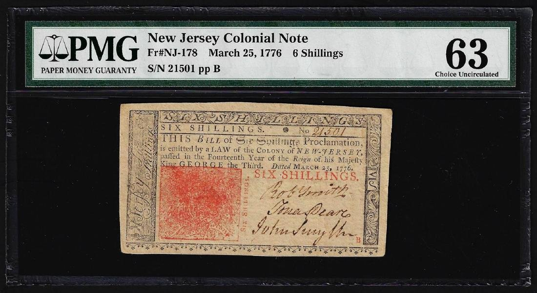 March 25, 1776 New Jersey 6 Shillings Colonial Note PMG