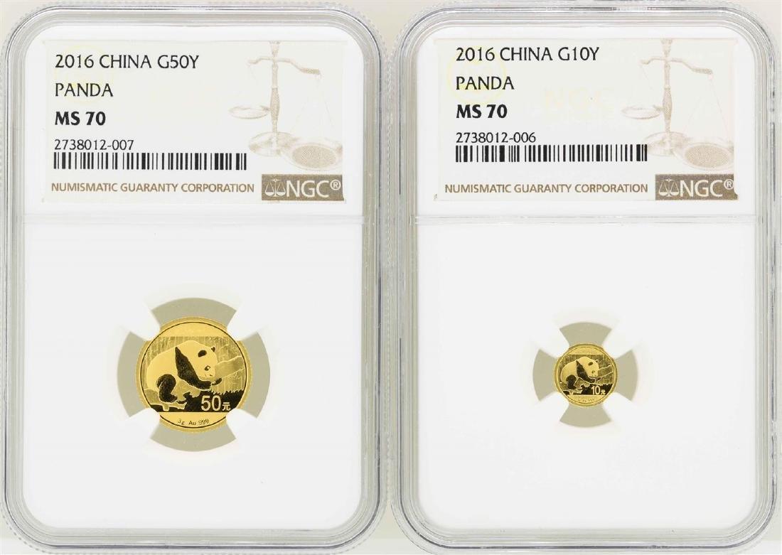 Lot of (2) 2016 China Gold Panda Coins NGC MS70