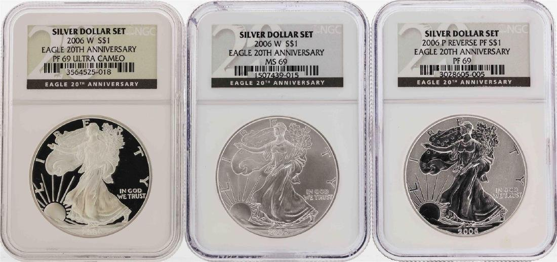 Set of (3) 2006-W $1 American Silver Eagle Coins NGC