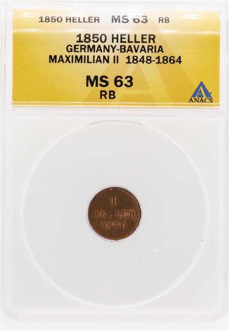 1850 Germany-Bavaria Maximilian II Heller Coin ANACS