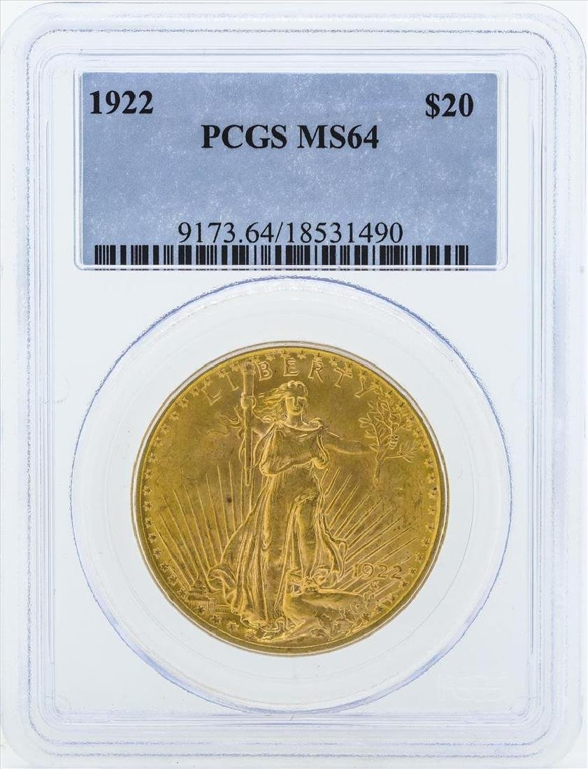 1922 St. Gaudens Double Eagle Gold Coin PCGS MS64