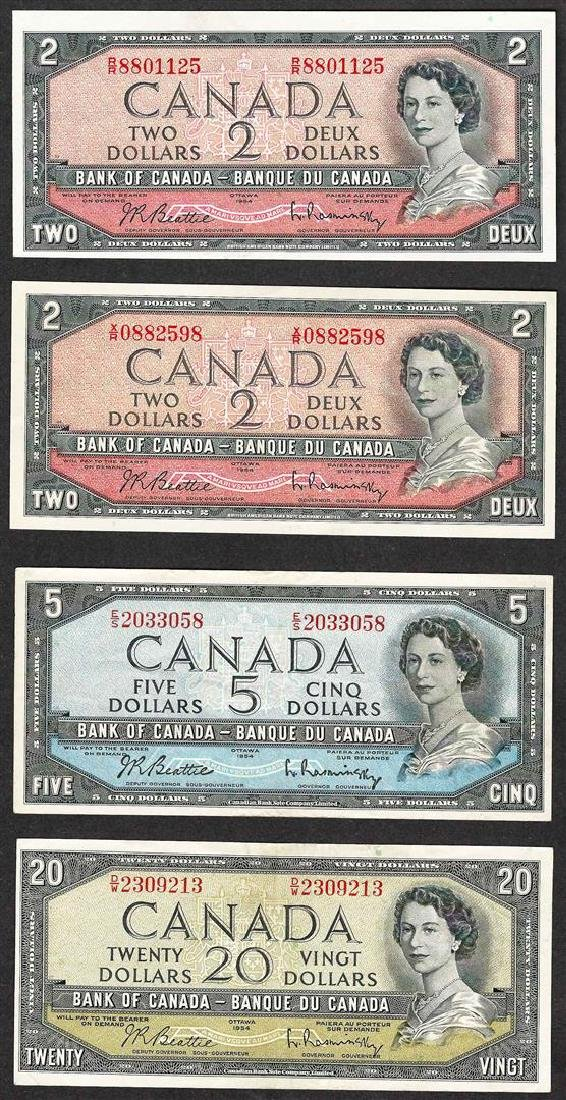 Lot of (4) 1954 Bank of Canada Notes
