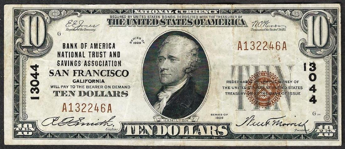 1929 $10 San Francisco California National Currency