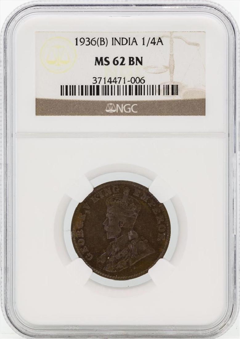 1936(B) India British King George V 1/4 Anna Copper