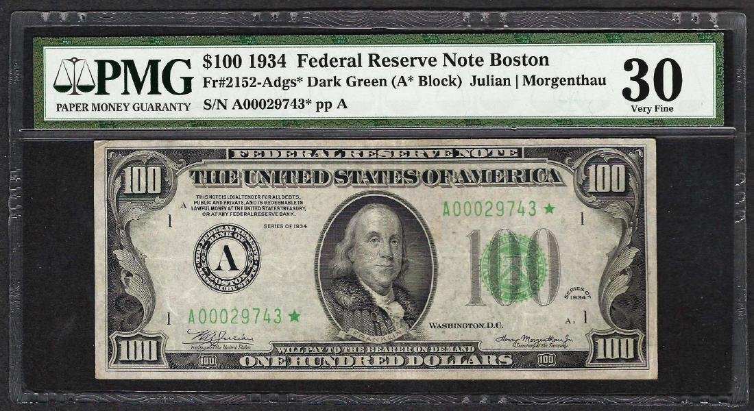 1934 $100 Federal Reserve STAR Note Fr.2152-A PMG Very