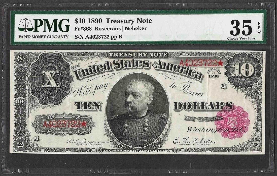 1890 $10 Treasury Note Fr.368 PMG Choice Very Fine