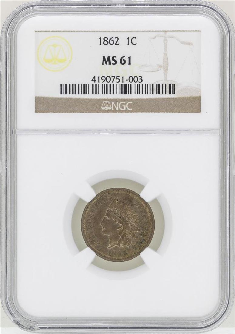 1862 Indian Head Cent Coin NGC MS61