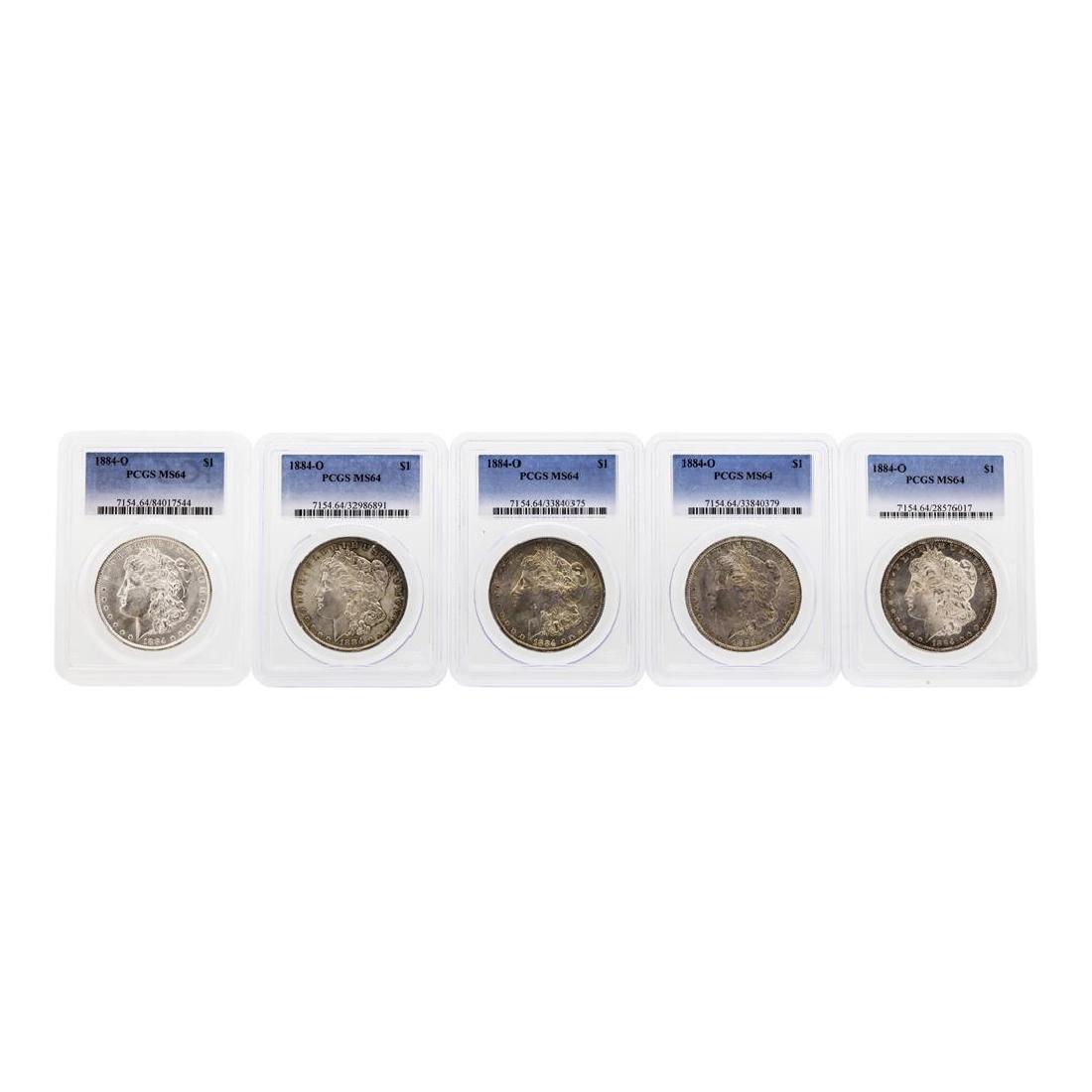 Lot of (5) 1884-O $1 Morgan Silver Dollar Coin PCGS
