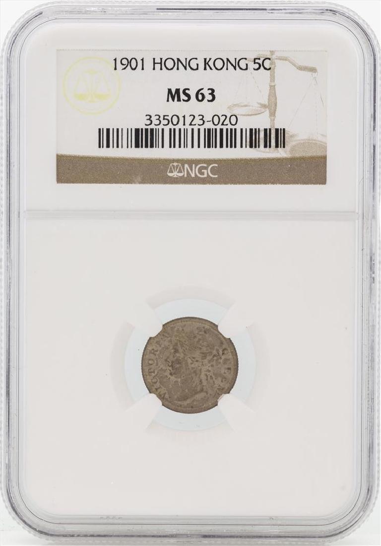 1901 Hong Kong 5 Cents Silver Coin NGC MS63