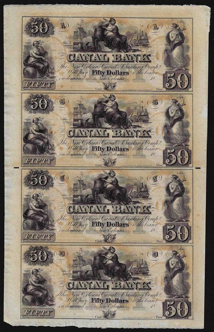 Uncut Sheet of $50 Canal Bank New Orleans Obsolete