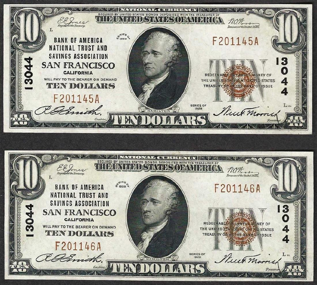 Lot of (2) 1929 $10 Bank of America San Francisco