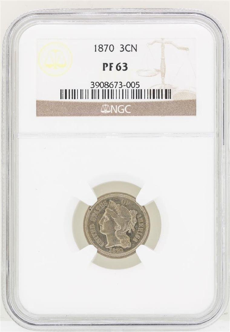 1870 Three Cent Nickel Proof Coin NGC PF63