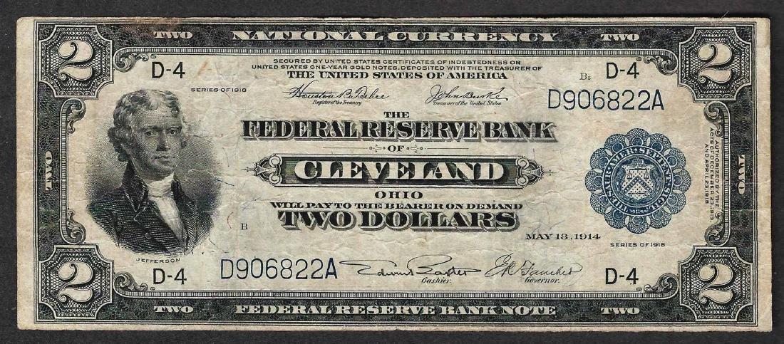 1918 $2 Battleship Federal Reserve Bank Note Cleveland