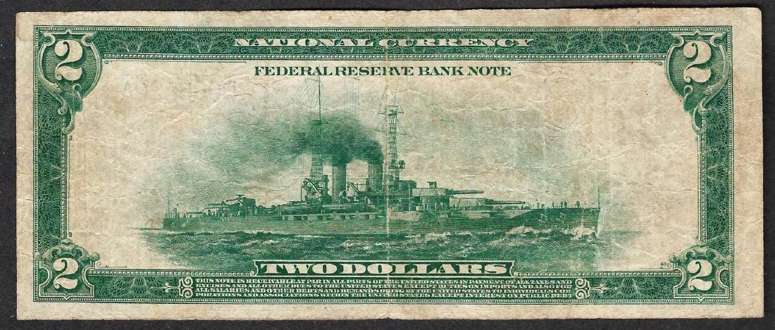 1918 $2 Battleship Federal Reserve Bank Note Cleveland - 2