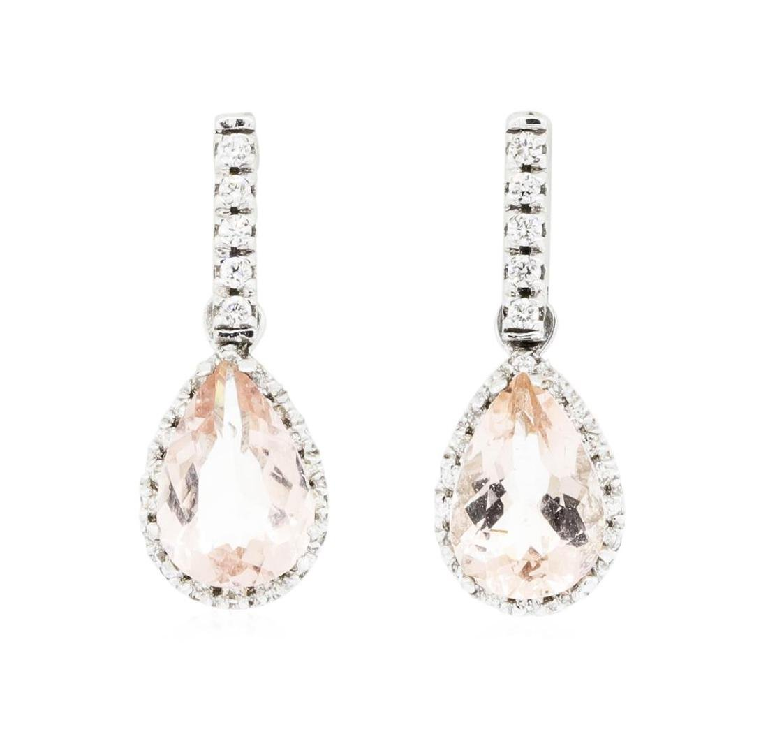14KT White Gold Ladies 2.90 ctw Morganite and Diamond