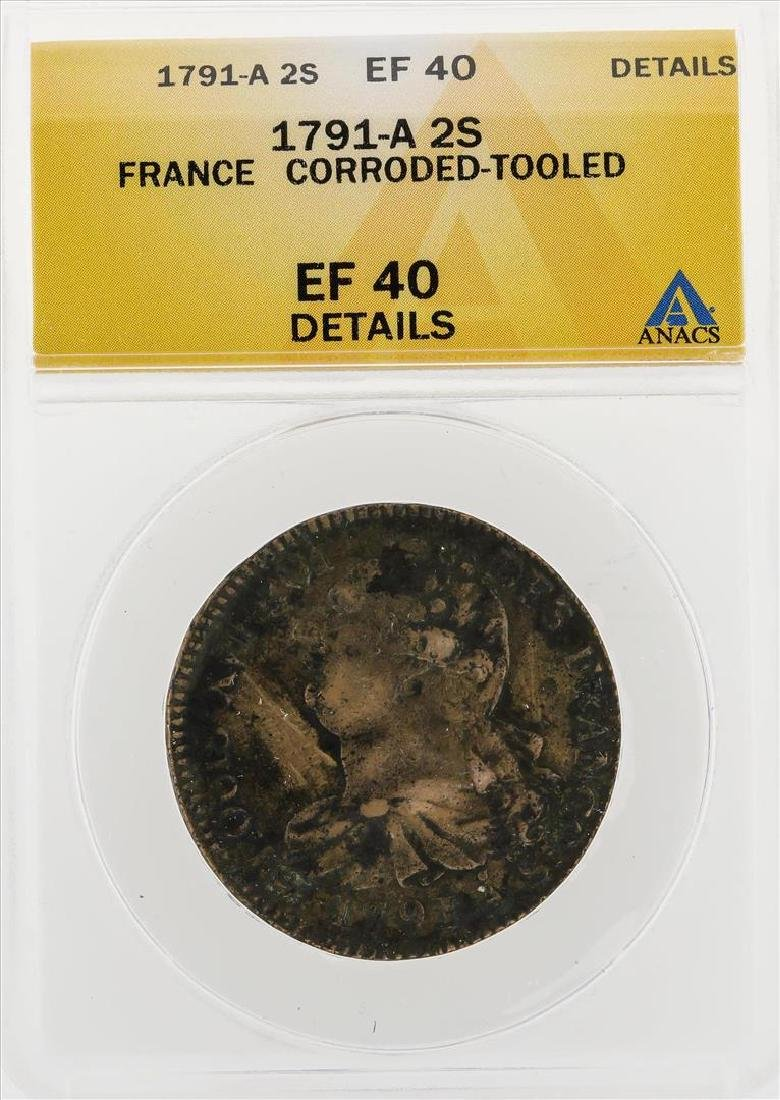 1791-A 2 Sols France Corroded Tooled Coin ANACS EF40