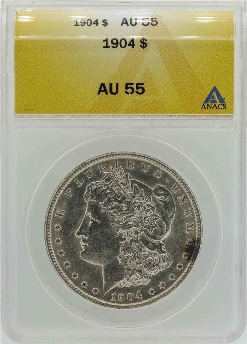 1904 $1 Morgan Silver Dollar Coin ANACS AU55