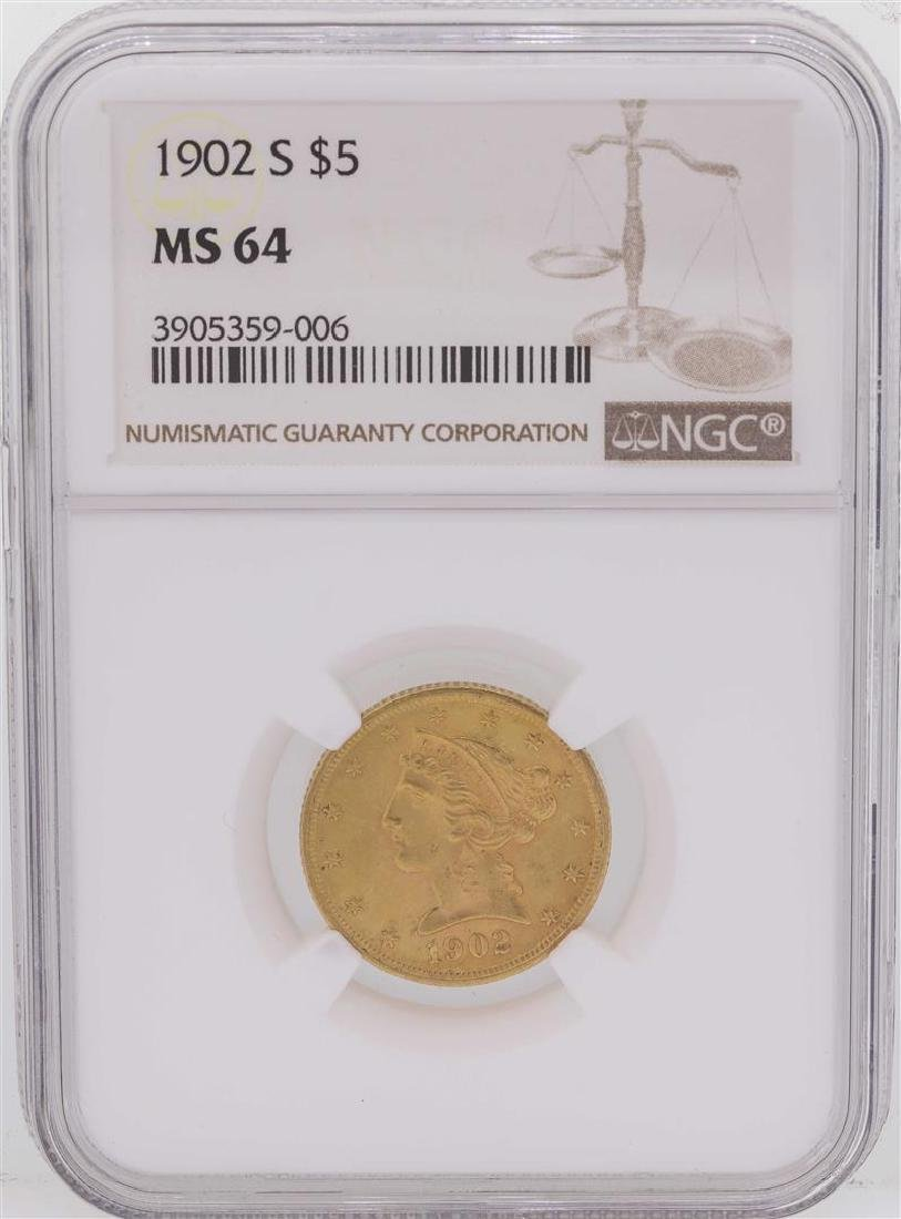 1902-S $5 Liberty Head Half Eagle Gold Coin NGC MS64