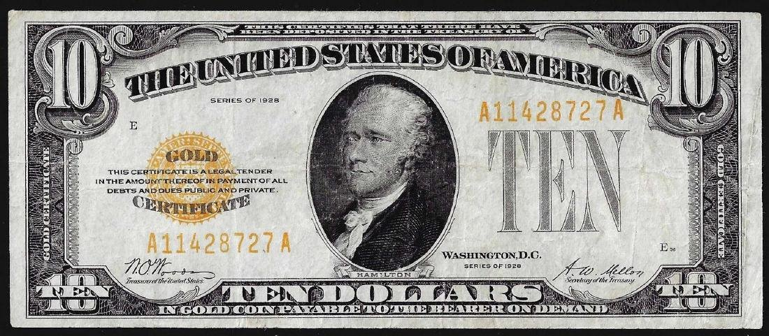 1928 $10 Gold Certificate Note