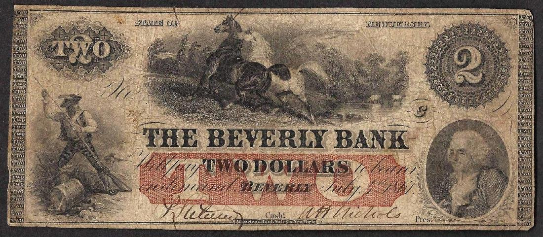 1867 $2 The Beverly Bank Obsolete Note