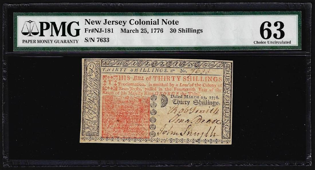 March 25, 1776 New Jersey 30 Shillings Colonial Note