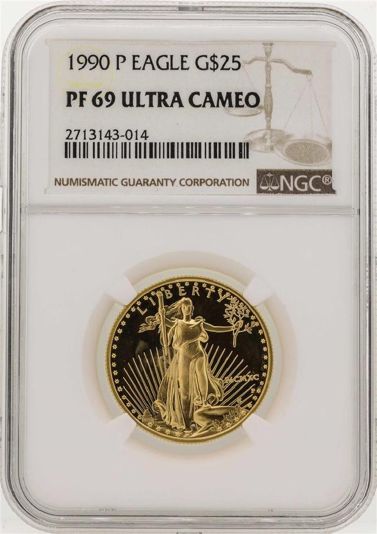 1990-P $25 American Gold Eagle Coin NGC PF69 Ultra