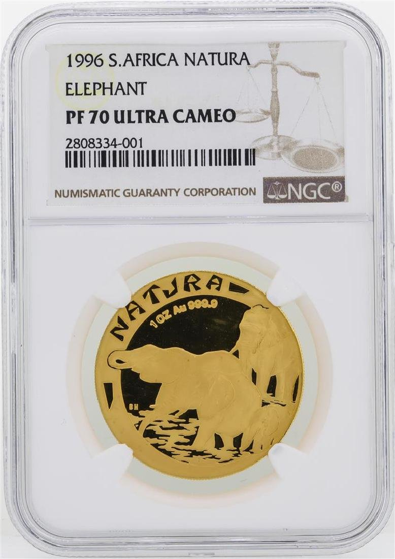 1996 South Africa Natura Elephant 1 oz Gold Coin NGC
