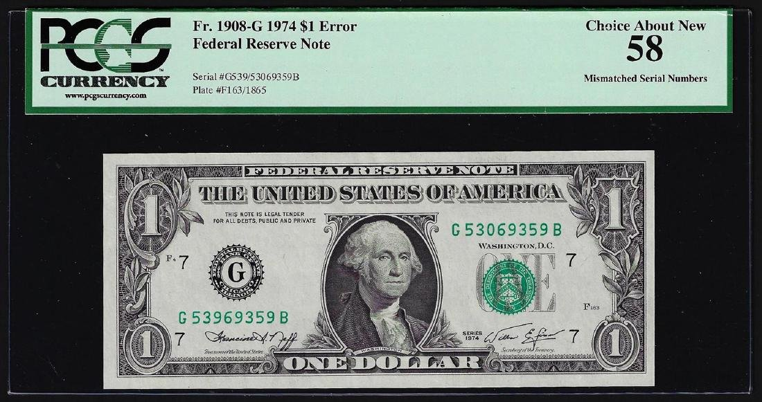1974 $1 Federal Reserve Note Mismatched Serial Number