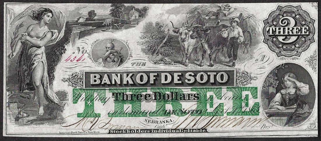 1863 $3 Bank of Desoto Obsolete Note