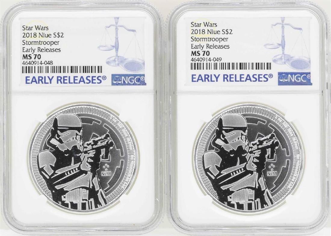 Lot of (2) 2018 Niue $2 Star Wars Stormtrooper Silver