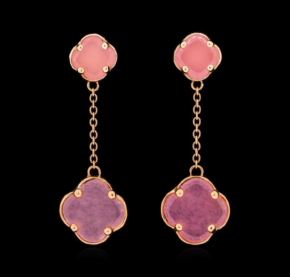 14KT Rose Gold Ladies Pink Quartz Four Leaf Clover