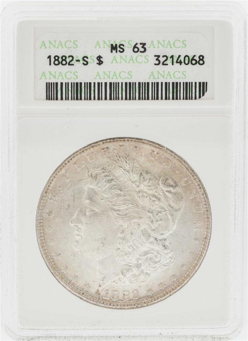 1882-S $1 Morgan Silver Dollar Coin ANACS MS63