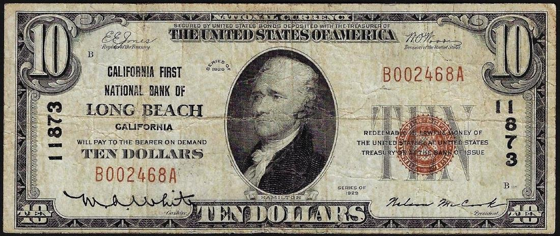1929 $10 Long Beach California National Currency Note