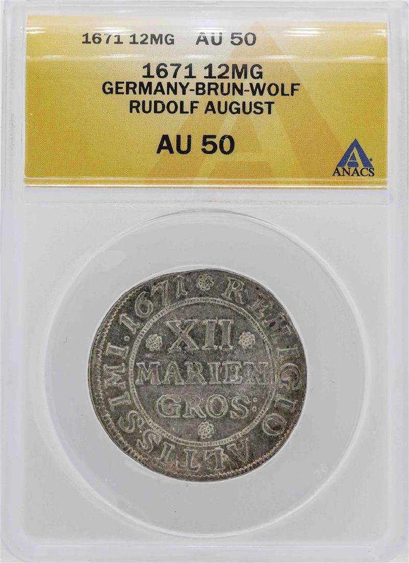 1671 Germany-Brun-Wolf 12MG Coin ANACS AU50
