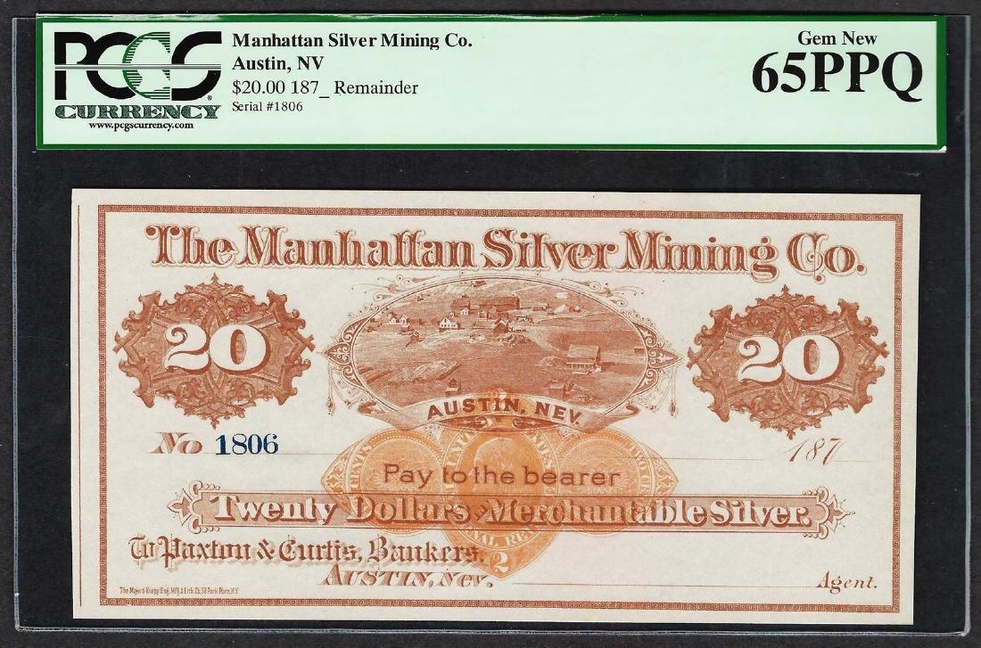 1870's $20 Manhattan Silver Mining Co. Obsolete Note