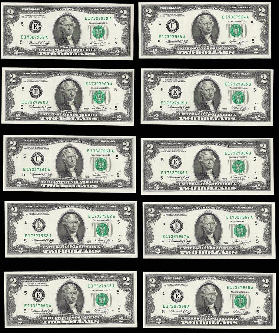Lot of (10) Consecutive 1976 $2 Federal Reserve Notes