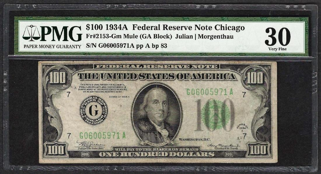 1934A $100 Federal Reserve Note Fr.2153-G PMG Very Fine