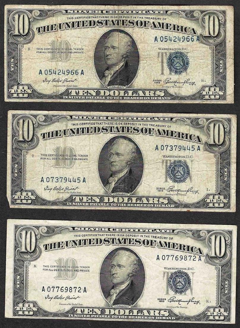 Lot of (3) 1953 $10 Silver Certificate Notes