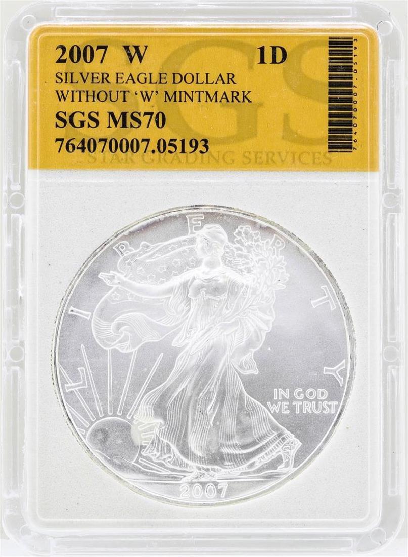 2007-W $1 American Silver Eagle Coin SGS MS70