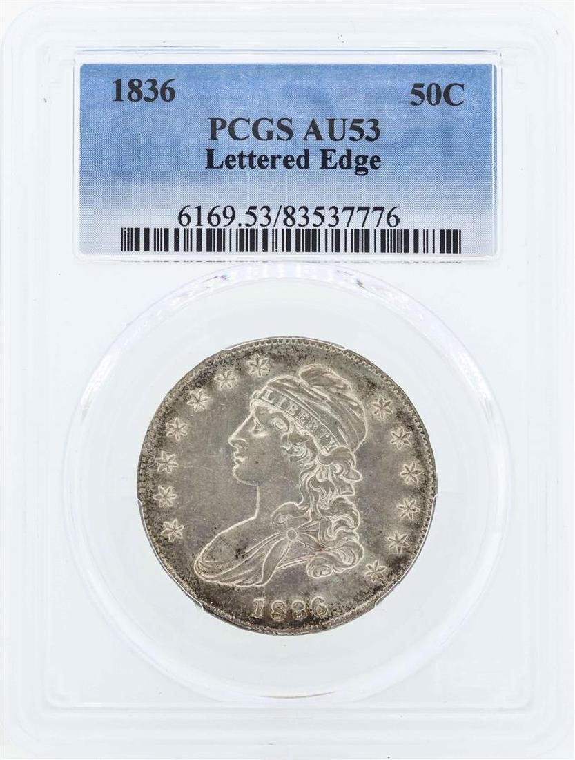 1836 Capped Bust Half Dollar Coin PCGS AU53 Lettered