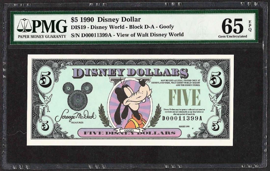 1990 $5 Disney Dollars Note PMG Gem Uncirculated 65EPQ