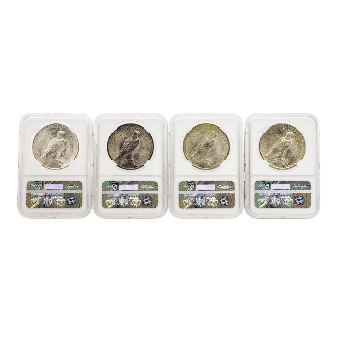 Set of 1922-1925 $1 Peace Silver Dollar Coins NGC MS64 - 2